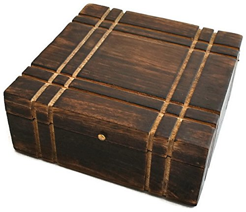 StarZebra Novelty Jewelry Boxes Artisan Handmade Stylish Wooden Jewelry Box (Stylish Black Wooden Box)