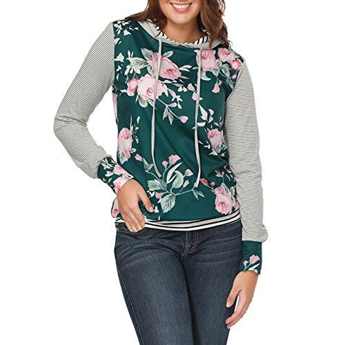 YANG-YI Claerance Womens O Neck Stripe Print Long Sleeve Causal Hooded Top Blouse Sweater by YANG-YI (Image #4)