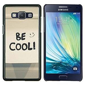 KLONGSHOP // Cubierta de piel con cierre a presión Shell trasero duro de goma Protección Caso - Be Cool Smiley feliz - Samsung Galaxy A5 A5000 //
