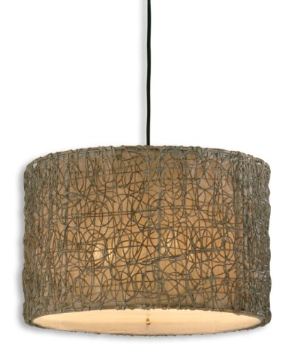 "Diva At Home 19"" Ivory, Brown and Gray Knotted Rattan Hanging Drum Pendant Light Shade"