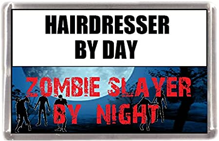 Peluquero de zombi Slayer Souvenir imán para nevera con texto en ...