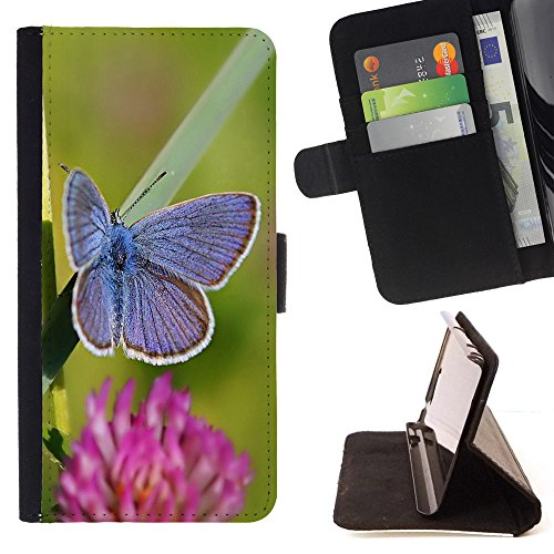 God Garden - FOR Apple Iphone 6 PLUS 5.5 - Butterfly - Glitter Teal Purple Sparkling Watercolor Personalized Design Custom Style PU Leather Case Wallet Fli