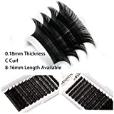 0.18 Individual Eyelash Extensions Faux Mink Salon Lash Tray C D Curl Silk Lash Natural Semi Permanent Eyelash Fake False Classic Lash Extensions Short Long J B CC DD L Curls available
