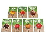 Organic Heirloom Slicing Tomato Garden Seeds - 7 Non-GMO Varieties: Pineapple, Hillbilly, Black Krim, Beefsteak, Brandywine Pink, Cherokee Purple Tomato & Golden Queen