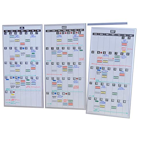 Ultimate Office Magnetic Dry-Erase Whiteboard Modular Monthly Planning Calendars (Set of 3), with Optional Accessories Kit
