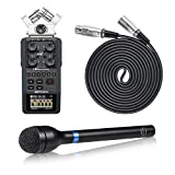 Movo Pro Recording Bundle with Zoom H6 Six-Track Portable Recorder, Dynamic Omnidirectional Handheld XLR Reporter Microphone, and Balanced Male-to-Female XLR Microphone Cable (10 foot)