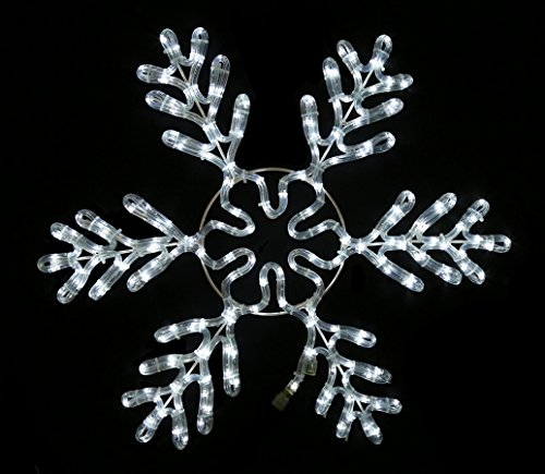 (Queens of Christmas WL-SFICE-36-PW Rope-Lit Snowflake Ice Ornament, 36
