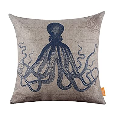 LINKWELL 18 x18  Retro Blue Octopus Sea Marine Burlap Cushion Covers Pillow Case