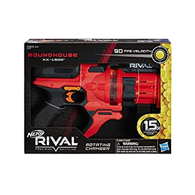 NERF Rival Roundhouse XX-1500 Red Blaster -- Clear Rotating Chamber Loads Rounds into Barrel -- 5 Integrated Magazines, 15 Rival Rounds: Toys & Games