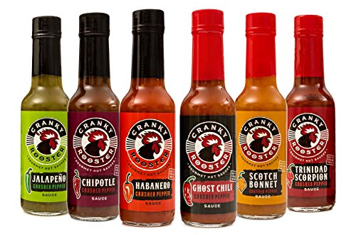 Cranky Rooster Hot Sauce Gift Set: Ghost Chili Pepper, Chipotle, Jalapeno, Scotch Bonnet, Habanero. Trinidad Scorpion Food/ Hot Sauce Sampler (Pepper Rooster)