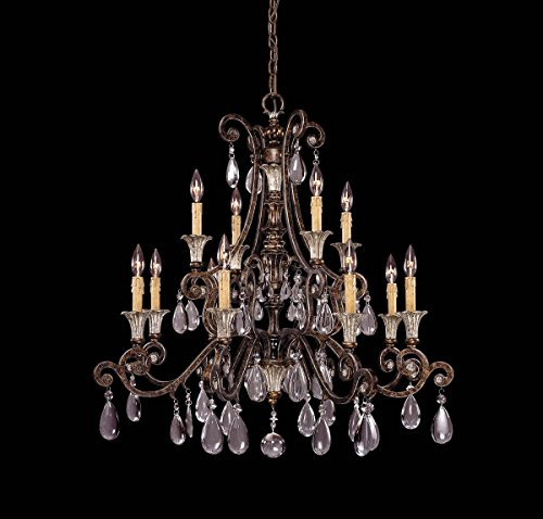 Savoy House 1-3003-12-8 Chandelier with Clear Crystals Shades, Brown Tortoise Shell with Silver Finish
