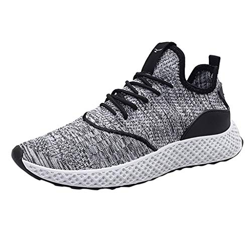 Canserin Mens Running Shoes Breathable Training Shoe Slip On Sneakers Athletic Walking Footwear (White,US:7.5)