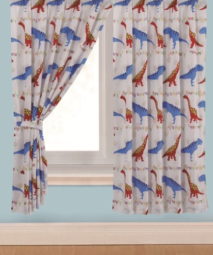 Childrens Kids Pair Of 66quot Width X 72quot Drop DINOSAUR DESIGN BOYS CURTAINS With