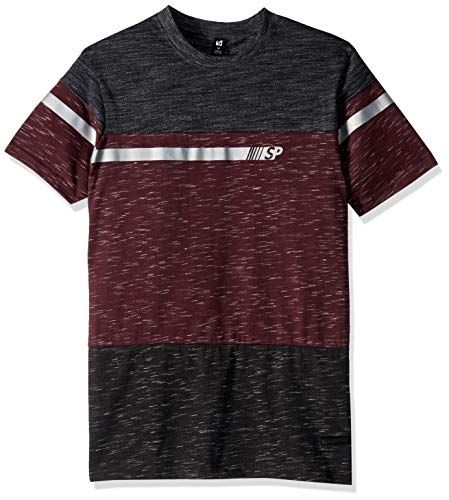 Southpole Men's Short Sleeve Tech Tee, Marled Burgundy Foil, X-Large