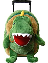 Kreative Kids Adorable T-Rex Rolling Backpack w/ Removable Stuffed Toy & Wheels