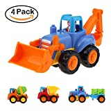 Friction Powered Cars Push and Go Car Construction Vehicles Tractor Bulldozer Dumper Cement Mixer Truck Education Engineering Inertia Toy Car Set for Toddler Baby Boys Girls 1 2 3 Year Old - Set of 4