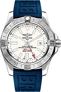Breitling Avenger II GMT Stainless Steel Case on Blue Rubber Strap 43mm Mens Watch