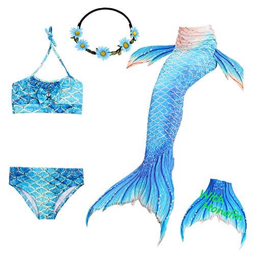 Das beste Girls Mermaid Tail Swimsuit with Monofin Girl's Mermaid Tail for Swimming,Colorful Swimmable Costume Cosplay Princess Swimwear Bikini Set Bathing Suit Set with Mono Fin 5 Pcs ()