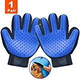OUENUAH Pet Grooming Gloves, Pet Hair Remover and Massaging Mitt with Five Finger Design Shedding Gloves for Your Pets- Short & Long Fur (One Pair)