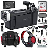 Zoom Q4n Handy Video Camera and Light Kit Deluxe Bundle w/ Lavalier Mic, Closed-Back Headphones, 32GB, Card Reader Aux Cable, Xpix Case + Tripod + Cleaning Kit