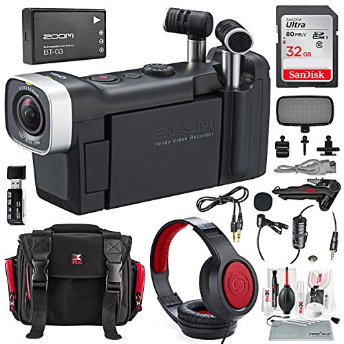 Zoom Q4n Handy Video Camera and Light Kit Deluxe Bundle w/Lavalier Mic, Closed-Back Headphones, 32GB, Card Reader Aux Cable, Xpix Case + Tripod + Cleaning Kit ()