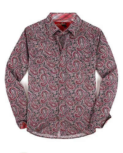 Rodeo Clothing Mens Casual Button Down Shirts Regular Fit Printed Long Sleeve Western Shirt Multicolor178 L - Mens Print Western Shirt