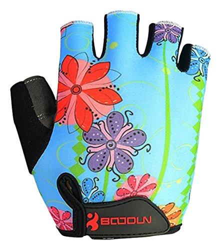 BOODUN Womens Shock-Absorbing Gel Pad Breathable Half Finger Mountain Bicycle Bike Road Racing Gloves, Large