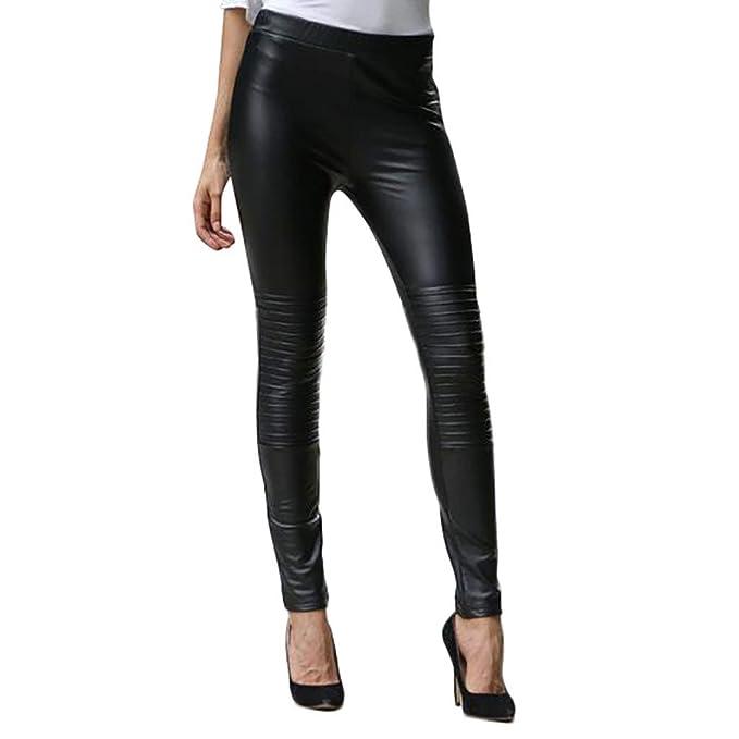 Amazon.com: Kaicran Pantalones de piel negra, sexy ...