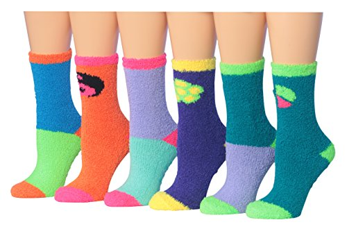 Tipi Toe Women's 6-Pairs Novelty Peace Love Anti-Skid Soft Fuzzy Cozy Winter Crew Socks, (sock size 9-11) Fits shoe size 6-9, FZ13-6