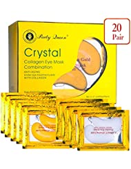 Party Queen 24K Gold Under Eye Bags Treatment Masks Collagen Under Eye Patches Pads for Dark Circles, Puffy Eyes and Wrinkles (20 Pairs 2 Types Pack In 1)
