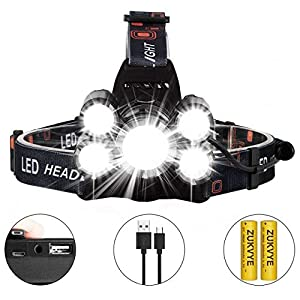 CREE LED Headlamp Flashlight , Zukvye 8000 Lumen Super Bright Headlamps , Zoomable Waterproof Headlight Rechargable 18650 Battery Best for Running, Camping, Fishing,Night Reading and DIY Works