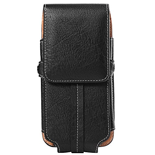 Leather Texture Clip - ZZJ Texture PU Leather Vertical Belt Clip Holster for Apple iPhone 8 7 Plus/LG V30/G6/Huawei P20/P20 Pro/Blackberry Motion/KEYone (Black)