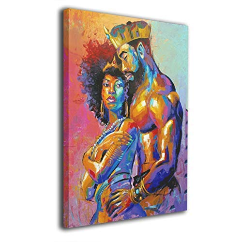African Art Home Decor - Okoart Canvas Wall Art Prints African Queen and King Crown Natural Hair Picture Paintings Modern Decorative Artwork for Living Room Wall Decor and Home Decor Framed Ready to Hang 16x20inch