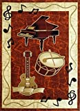 Music Area Rug Design Bellagio G217 Burgundy (24 Inch X 40 Inch)