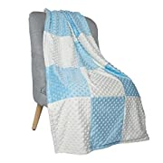 Boritar Super Soft Throw Blanket for Both Adults and Children with Minky Raised Dotted, Blue 50 x60