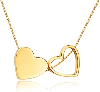Girafe 14K Real Gold Plated Necklace Loves Me Loves Me Not with Double Heart Pendant Packed into an Exquisite Drawer Jewelry Box