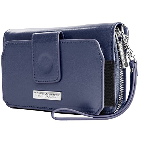 Vangoddy Sahara Smartphone Wallet Case with Removable Wristlet for Smartphones - Retail Packaging - Blue (Htc One Mini Makeup Case)