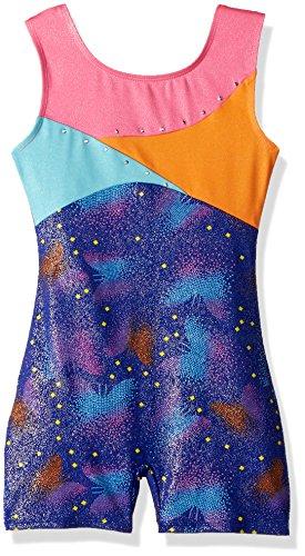 Jacques Moret Big Girls (8-10) Fun Gymnastics Biketard, Square Butterflies Printed, L (Fun Girl Skis)