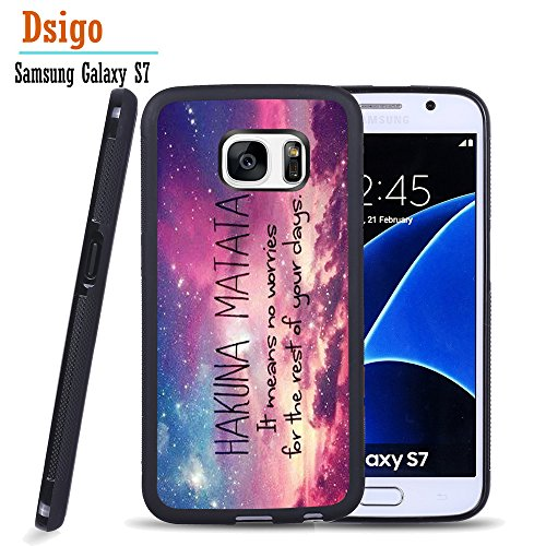 Galaxy S7 Case, Samsung S7 Black Case, Dsigo TPU Black Full Cover Protective Case for New Samsung Galaxy S7 - HAKUNA MATATA