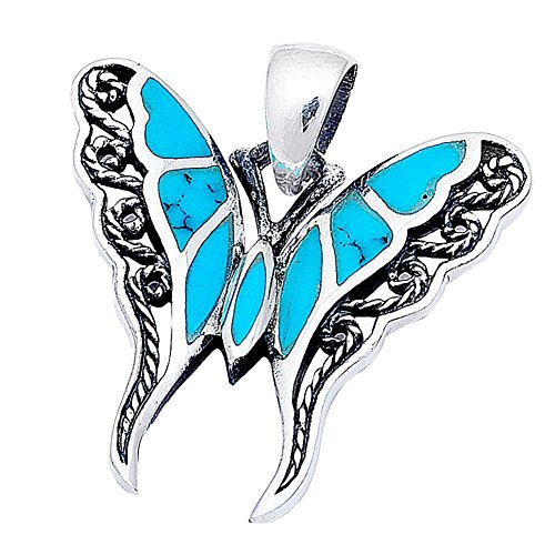 Filigree Swirl Butterfly Pendant Charm Simulated Blue Turquoise 925 Sterling Silver (24mm)