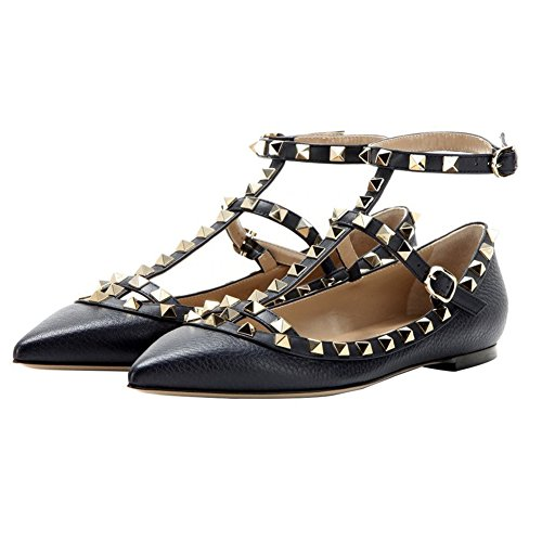 VOCOSI Women's Flat Heels Pointed Toe Gold Rivets Ankle Strap Ballet Flats Shoes Black(lines) SOI91kuiqj