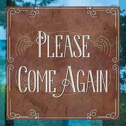 Victorian Card Clear Window Cling CGSignLab 5-Pack 24x24 Please Come Again