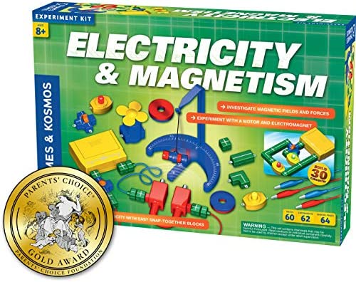 Thames & Kosmos Electricity & Magnetism Science Kit | 62 Safe Experiments Investigating Magnetic Fields & Forces for Ages 8+ | Assemble Electric CircuitsEasy Snap-Together Blocks