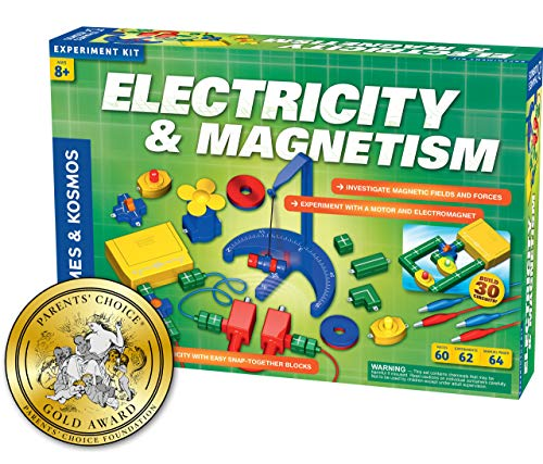 Electricity Kit - Thames & Kosmos Electricity & Magnetism Science Kit | 62 Safe Experiments Investigating Magnetic Fields & Forces for Ages 8+ | Assemble Electric Circuits with Easy Snap-Together Blocks