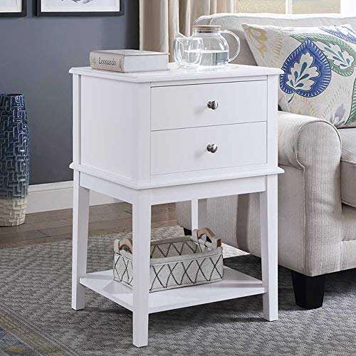 Coniffer End Table Modern Night Stand with Drawer and Storage Shelf White Wood Side Table for Living Room Bedroom Home Furniture ()