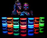 UV Neon Face & Body Paint Glow Kit (7 Bottles .75 oz. Each) - Top Rated Blacklight Reactive Fluorescent Paint - Safe, Washable, Non-Toxic, By Midnight Glo
