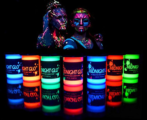 Music Halloween Makeup (UV Neon Face & Body Paint Glow Kit (7 Bottles .75 oz. Each) - Top Rated Blacklight Reactive Fluorescent Paint - Safe, Washable, Non-Toxic, By Midnight)