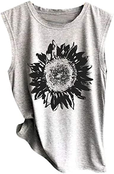 Womens Crop Top Fashion Sunflower Printed Shirts Sleeveless Workout Blouse Comfortable Tee Vedolay Women Tank Tops
