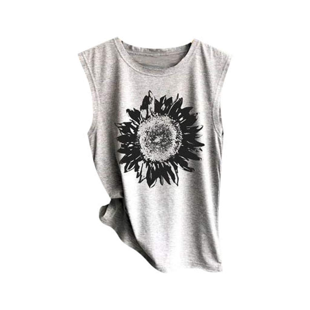Mysky Fashion Women Summer Casual Sunflower Print Vest T-Shirt Ladies Brief Sleeveless Loose Tank Top Blouse Gray