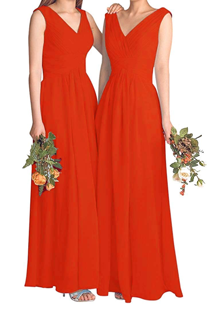 orange Fanciest Women's V Neck Bridesmaid Dresses Long Prom Evening Dress 2018 Maxi Formal Gowns